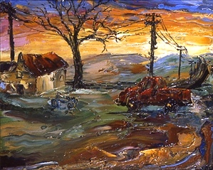 Arthur Robins - Country House With Red Pick-Up Truck